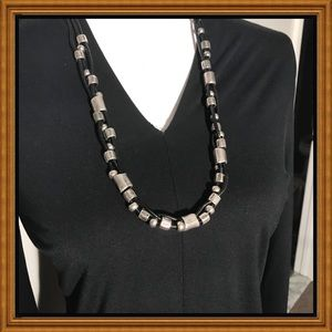 "NWT vegan Leather 24"" triple strand necklace"